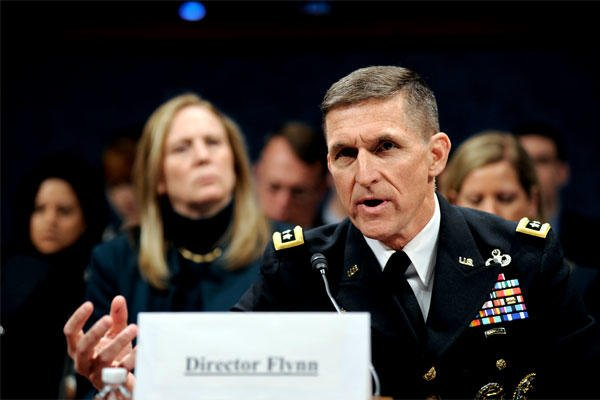 U.S. Army Lt. Gen. Michael Flynn testifies as director of the Defense Intelligence Agency at a Feb. 4, 2014 congressional hearing in Washington. (DoD photo/Jonathan Lovelady)