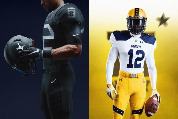 Army's new Nike uniforms honor the World War II-era 82nd Airborne Division. Navy's Under Armour designs throw back to 1963 when Navy quarterback Roger Staubach won the Heisman Trophy. (Courtesy photos)