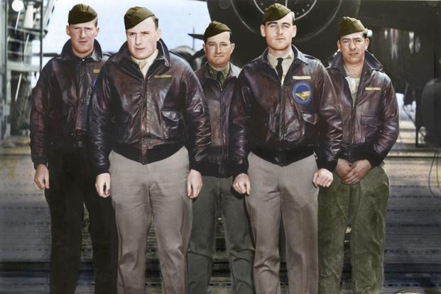 Crew 15: Lt. Donald G. Smith, pilot; Lt. Griffith P. Williams, copilot; Lt. Howard A. Sessler, navigator/bombardier; Lt. Thomas R. White, flight engineer; Sgt. Edward J. Saylor, gunner. (Colorized image © copyright 2017 Lori Lang, LBL Graphic Design)