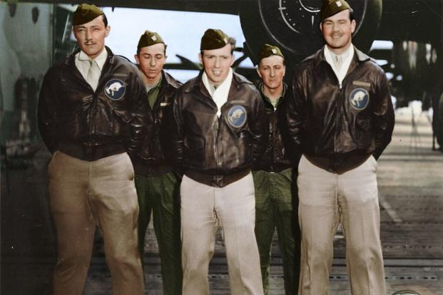 Crew 4: Lt. Everett W. Holstrom, pilot; Lt. Lucian N. Youngblood, copilot; Lt. Harry C. McCool, navigator; Sgt. Robert J. Stephens, bombardier; Cpl. Bert M. Jordan, flight engineer/gunner. (Colorized image © copyright 2017 Lori Lang, LBL Graphic Design)