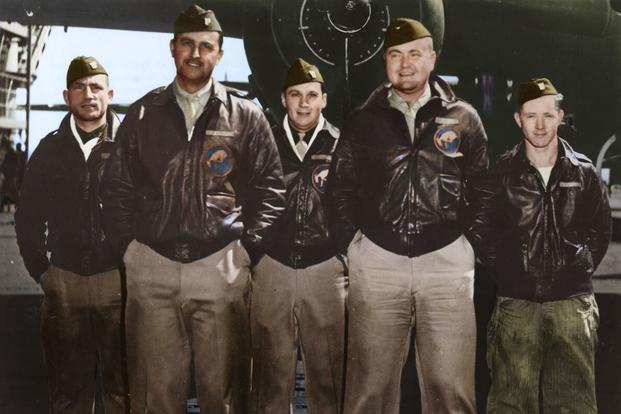Crew 5: Capt. David M. Jones, pilot; Lt. Ross R. Wilder, copilot; Lt. Eugene F. McGurl, navigator; Lt. Denver V. Truelove, bombardier; Sgt. Joseph W. Manske, flight engineer/gunner. (Colorized image © copyright 2017 Lori Lang, LBL Graphic Design)