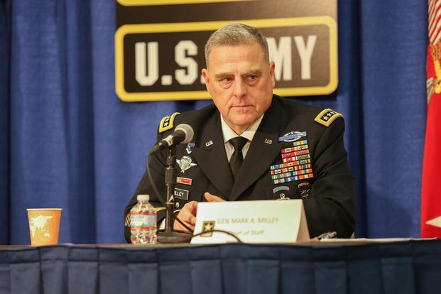 Gen. Mark Milley, Army chief of staff, listens to questions asked by the press at the Association of the United States Army annual meeting on Oct. 9, 2017. Spc. Bree-Ann Ramos-Clifton/Army