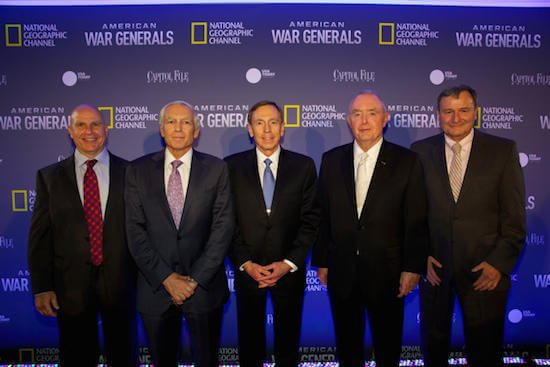 "Washington, DC, USA; September 8th, 2014: Lt. Gen. Herbert R. McMaster, Gen. Wesley Clark (Ret.), Gen. David Petraeus (Ret.), Gen. Barry McCaffrey (Ret.), Lt. Gen. Karl Eikenberry (Ret.)   National Geographic Channel held the world premiere for American War Generals September 8th, 2014 at the Mellon Auditorium in DC. General David Petraeus (Ret.), Lt. Gen. Karl Eikenberry (Ret.), Lt. Gen. Herbert R. McMaster, Gen. Barry McCaffrey (Ret.), and Gen. Wesley Clark (Ret.) attending the screening. ""American War"