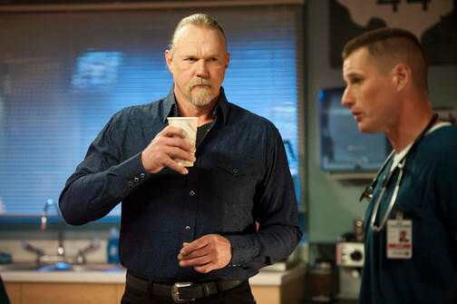 THE NIGHT SHIFT -- Moving On Episode 212 -- Pictured: (l-r) Trace Adkins as Smalls, Brendan Fehr as Drew Alister -- (Photo by: Lewis Jacobs/NBC)