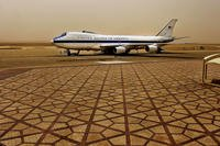 Air Force One sits at King Khalid International Airport in Riyadh, Saudia Arabia, in April 2011. The airport was targeted Saturday by a Yemeni rebel missile that was shot down by Saudi air defense forces. (US Air Force photo/Jerry Morrison)