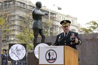 General Mark A. Milley, U.S. Army Chief of Staff, speaks at the ceremonial groundbreaking for the National World War I Memorial at Pershing Park in Washington, D.C. Nov. 9, 2017. (DoD photo by EJ Hersom)