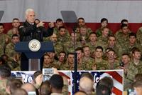 Vice President of the United States Mike Pence visits U.S. service members and speaks on the strategy in Afghanistan, Dec. 21, 2017 at Bagram Airfield. (U.S. Air Force photo/Staff Sgt. Divine Cox)