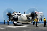 A C-2A Greyhound taxis on the USS Ronald Reagan's flight deck in July 2016. (US Navy photo/Jamaal Liddell)