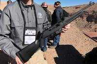 Ruger's 9mm PC carbine features a 16-inch barrel and an interchangeable magazine well, allowing it to take any 9mm magazine. (Photos by Hope Hodge Seck/Military.com)