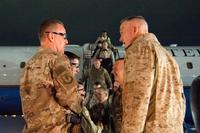 Marine Gen. Joe Dunford, chairman of the Joint Chiefs of Staff, meets with leadership of U.S. Forces - Afghanistan an the 455th Air Expeditionary Wing after arriving at Bagram Air Field, March 19, 2018. (DoD/Navy Petty Officer 1st Class Dominique A. Pineiro)