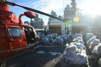 Pallets of seized suspected contraband sit on the deck of the Coast Guard Cutter Bertholf prior to being offloaded by Bertholf's crew at B Street Pier, San Diego, March 20, 2018. Over 36,000 pounds of cocaine was seized in 17 interdictions by five different cutters in the Eastern Pacific between February and early March. (U.S. Coast Guard photo/Taylor Bacon)