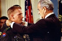 Sammy L. Davis receives the Medal of Honor from President Lyndon B. Johnson