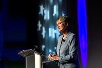 Secretary of the Air Force Heather Wilson speaks about innovation during the Air Force Association Air Warfare Symposium, Orlando, Fla., Feb. 22, 2018. (Air Force/Wayne A. Clark)