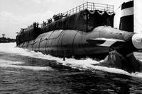 The Thresher (SSN 593) is launched at the Portsmouth Naval Shipyard in Kittery, Maine on July 9, 1960. (US Navy photo courtesy of Naval History and Heritage Command)