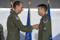 "U.S. Air Force Maj. Gen. Scott Zobrist, left, 9th Air Force commander, places a Distinguished Flying Cross medal on Capt. William ""Archer"" Dana, 74th Fighter Squadron A-10C Thunderbolt II pilot, on May 23, 2018, at Moody Air Force Base, Ga. (U.S. Air Force photo by Senior Airman Janiqua P. Robinson)"
