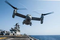 An MV-22 Osprey assigned to Marine Medium Tiltrotor Squadron (VMM) 161 (Reinforced) lifts off from the flight deck of the amphibious assault ship USS America (LHA 6) during flight operations, Oct. 3, 2017. (U.S. Navy photo/Vance Hand)