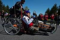 Disabled Vietnam War veteran Bill Czyzewski joins about 150 other disabled veterans in a 2016 cycling event at Gettysburg, Pa. Although Congress passed a bill to provide benefits for caregivers of such veterans, about $55 billion in funding must be found. (DoD photo/EJ Hersom).
