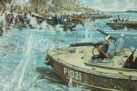 "Official Coast Guard painting of Signalman Douglas Munro's last moments while evacuating Marines at Guadalcanal. The painting's original title was ""Douglas A. Munro Covers the Withdrawal of the 7th Marines at Guadalcanal,"" and was painted by artist Bernard D'Andrea."