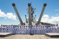 The USS Missouri Chief Petty Officer (CPO) Legacy Academy Class 019 graduates pose with the CPO Legacy Academy leadership for a graduation photo aboard the USS Battleship Missouri Memorial, Aug. 31, 2018. (U.S. Navy photo/Jessica O. Blackwell)