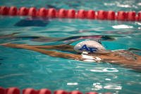 An Air Force athlete swims a warmup lap prior to a competition in Colorado Springs, Colo., Sept. 30, 2014. (U.S. Air Force photo/Scott Jackson)