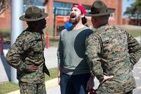 Marine veteran Craig Grossi responds to Parris Island drill instructors March 9, 2018, on Parris Island, S.C. (U.S. Marine Corps/Cpl. Carlin Warren)