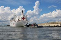 The Military Sealift Command hospital ship USNS Comfort (T-AH 20) evacuates from Naval Station Norfolk in preparation for Hurricane Florence, Sept. 11, 2018. (U.S. Navy photo/Jennifer Hunt)