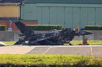 This photo, courtesy of www.scramble.nl, shows a Belgian F-16 that was destroyed when a mechanic accidentally fired a Vulcan cannon at it from another aircraft. Visit Scramble Magazine on Facebook at @scramblemagazine. Scramble Magazine photo