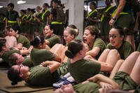 U.S. Marine Corps recruits with Platoon 4038, Papa Company, 4th Recruit Training Battalion, execute crunches during their Initial Strength Test on Parris Island July 20, 2018. (U.S. Marine Corps photo/Dana Beesley)