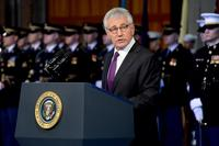 U.S. Secretary of Defense Chuck Hagel speaks during his farewell tribute at Conmy Hall on Joint Base Myer-Henderson Hall in Arlington, Va., Jan. 28, 2015. (U.S. Army/Staff Sgt. Laura Buchta)