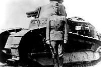 George S. Patton stands in front of a Renault FT light tank at Bourg, France in 1918. He was promoted to colonel on Oct. 17 of that year, after being wounded while leading six men and a tank in an attack on German machine guns near the town of Cheppy. (US Army photo)