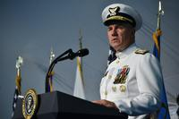 Adm. Karl Schultz speaks during a change of command ceremony at Coast Guard Headquarters in Washington, D.C., June 1, 2018 (U.S. Coast Guard/Petty Officer 1st Class Patrick Kelley)