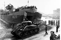 M-4 Sherman tanks attached to the Fifth Army land on the beach during Anzio invasion where an Army private witnessed an act of cowardice by his platoon leader. (Photo courtesy of Naval History and Heritage Command)