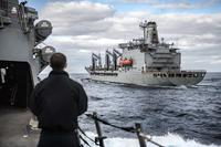 The guided-missile destroyer USS Jason Dunham, left, approaches the fleet replenishment oiler USNS Joshua Humphreys (T-AO 188), Dec. 19, 2018. Jason Dunham is conducting operations in the U.S. 2nd Fleet area of operations. (U.S. Navy/Mass Communication Specialist 2nd Class Jonathan Clay)
