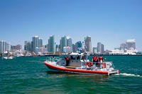 A 45-foot Response Boat in San Diego Bay. (Coast Guard photo by Petty Officer 2nd Class Henry G. Dunphy)