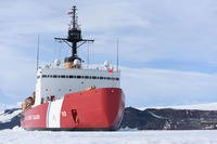 The Coast Guard Cutter Polar Star is hove-to in McMurdo Sound, Antarctica, fast ice near the National Science Foundation's McMurdo Station, Feb. 2, 2016. (U.S. Coast Guard photo by Petty Officer 2nd Class Grant DeVuyst)