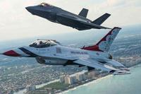 The F-35 and F-16 fly alongside one another during the Fort Lauderdale Air Show May 5, 2016. (via AFThunderbirds Instagram)