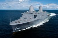 The Ingalls-built amphibious transport dock ship) USS Somerset (LPD 25) transits the Gulf of Mexico during builder's sea trials, Aug. 19, 2013. (U.S. Navy photo courtesy of Huntington Ingalls Industries, Inc./Steve Blount)