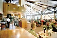 FILE PHOTO -- Patrons eat at a dining facility at Joint Base Elmendorf-Richardson. (U.S. Air Force photo/Airman 1st Class Jack Sanders)