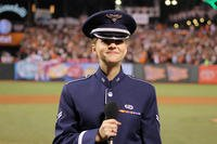 Airman 1st Class Michelle Doolittle performs God Bless America at the 2014 World Series. (Photo: U.S. Air Force/Staff Sgt. Megan May.)