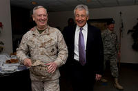 Secretary of Defense Chuck Hagel, right, laughs with General James Mattis at McDill Air Force Base in Tampa, Fla., on March 22, 2013. (DoD photo/Erin A. Kirk-Cuomo)