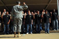 Army recruits swearing in