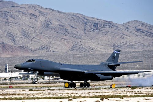 A B-1B Lancer from Dyess Air Force Base, Texas, lands after a close-air support training mission during Green Flag-West 11-10 on Sept. 20, 2011, at Nellis AFB, Nev. (US Air Force photo/Brett Clashman)