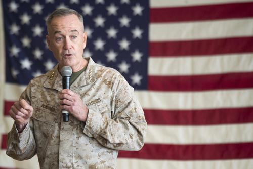 Marine Corps Gen. Joe Dunford, chairman of the Joint Chiefs of Staff, speaks to service members before the USO Holiday Tour at Operating Base Fenty, Dec. 24, 2017. (DoD/Navy Petty Officer 1st Class Dominique A. Pineiro)