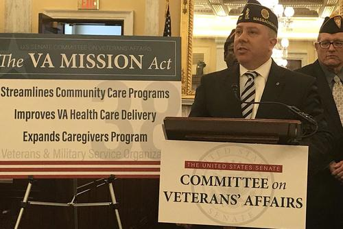 At a Senate news conference on May 22, 2018, Louis Celli, legislative director for the American Legion, said the Choice program is unwieldy and has led to confusion on eligibility and the payment of bills for private care. Twitter photo courtesy of the American Legion