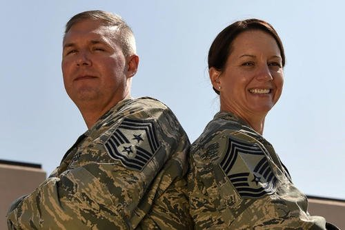 Married Air Force Chief Master Sgts. Brian and Shannon Thomas. (U.S. Air Force/Melody Wolff)