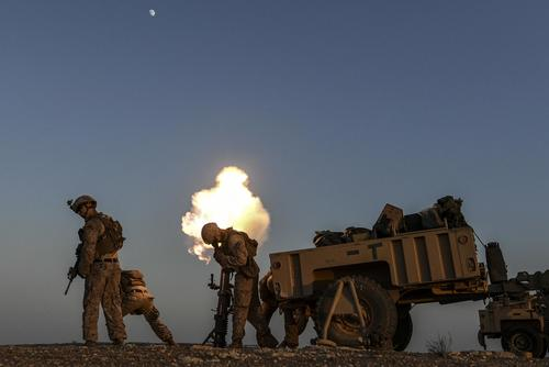 U.S. Marines fire a mortar during training in support of Operation Inherent Resolve in Syria, July 23, 2018 (U.S. Air Force/Staff Sgt. Corey Hook)